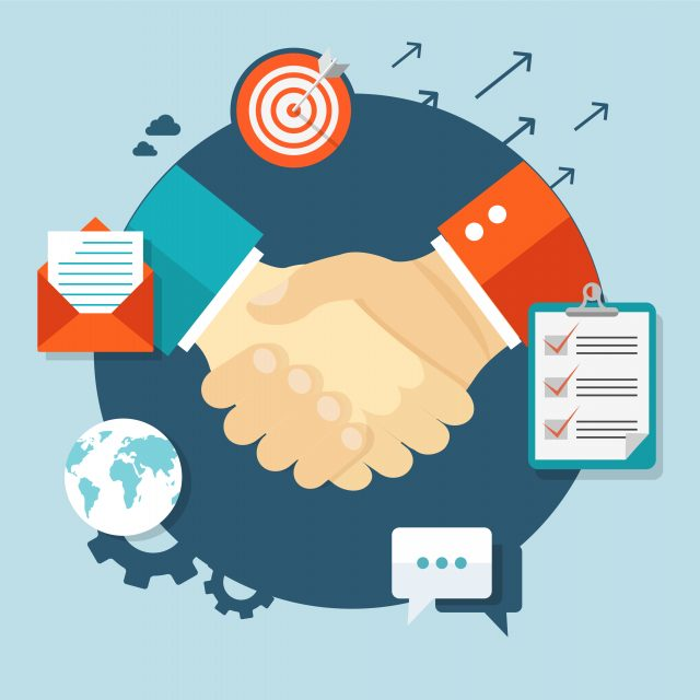 Cartoon imagery as businessmen shake hands with performance related icons surrounding them