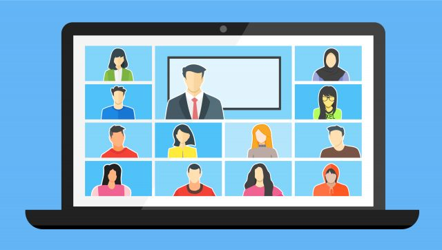 Cartoon imagery of a video call on a laptop
