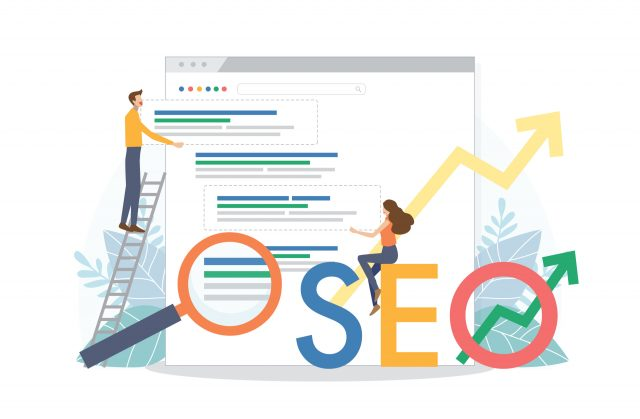 Google search home screen with cartoon man placing a search result in position one