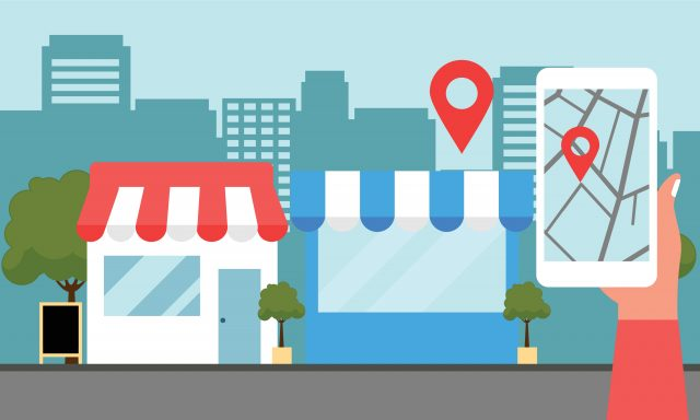 Cartoon imagery of local shops with a map location displaying its location