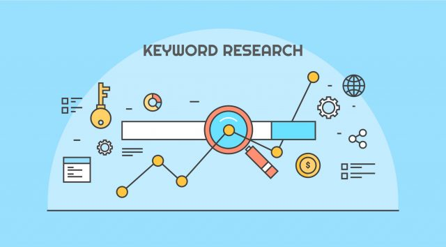 Cartoon imagery of keyword research with different analytical icons