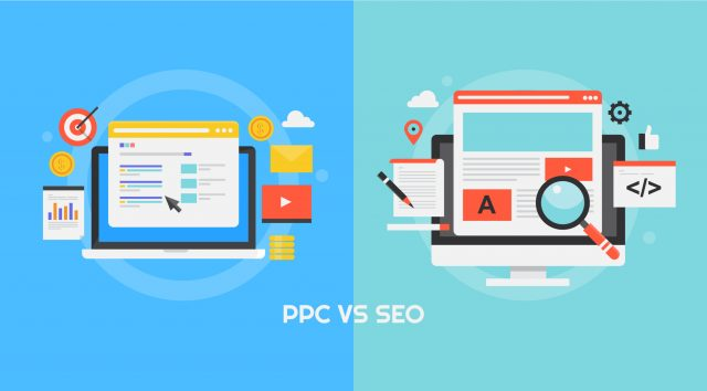 Cartoon imagery of computer screens with different analytics displayed and a caption of PPC vs SEO