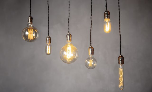 Vintage lightbulbs hanging from the ceiling