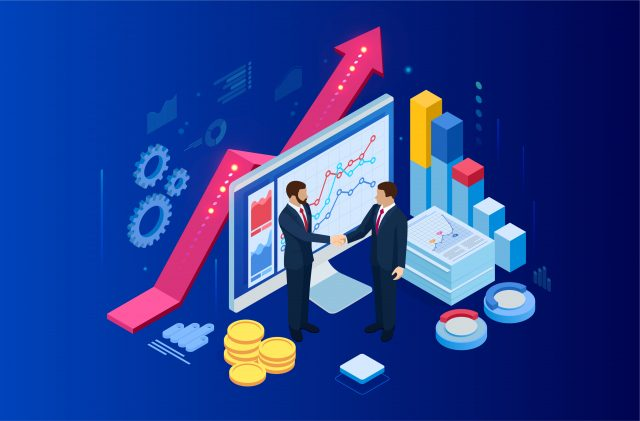 Cartoon imagery of market values increasing as two businessmen shake hands