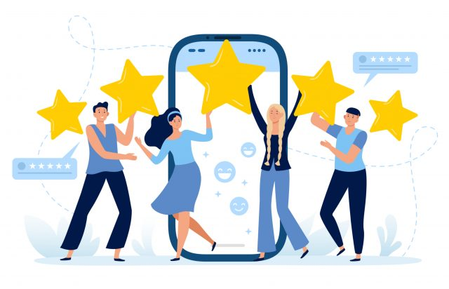 Cartoon imagery of four people celebrating five star reviews