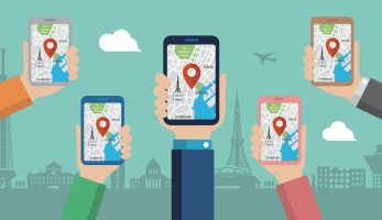 Cartoon imagery of five people using Maps on their phone