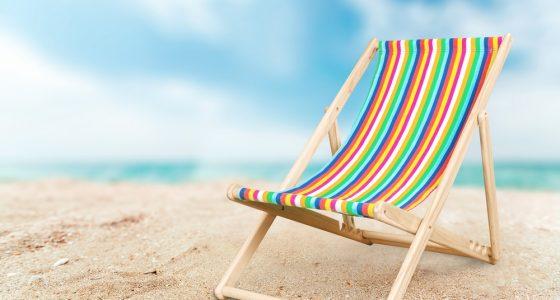 Stripy deckchair on the beach