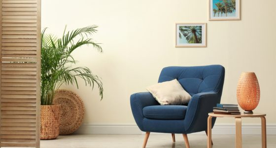 Comfortable chair with modern interior design