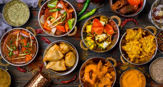 Selection of indian cuisine dishes